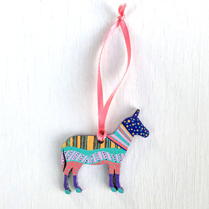 Hand-Painted Christmas SMALL Ornament - Christmas Donkey I