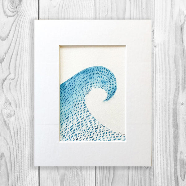 Dashed Waves - SET OF THREE Unframed, Matted to Standard Frame Size
