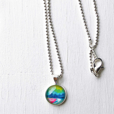 Distant Town - Small Round Necklace