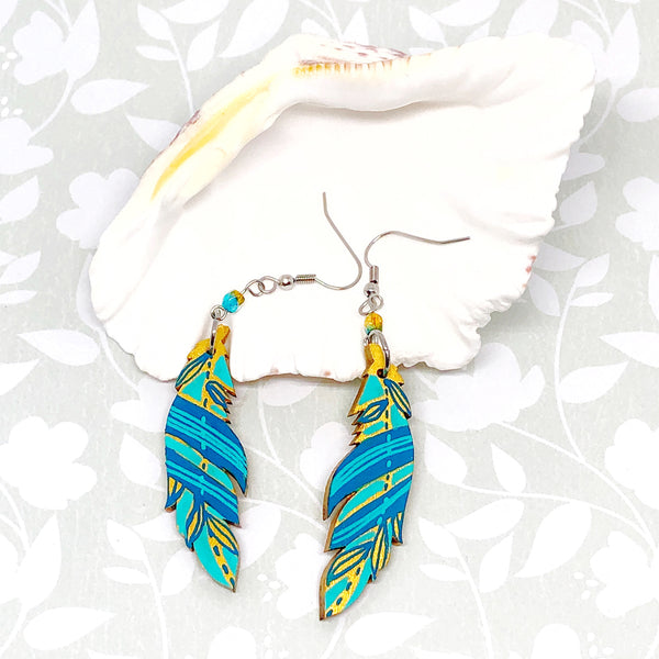 Gold, Blue and Turquoise - Hand Painted Wood Feather Earrings