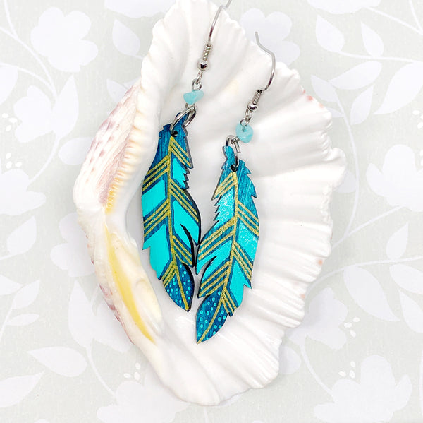 Gold, Blue and Turquoise II - Hand Painted Wood Feather Earrings