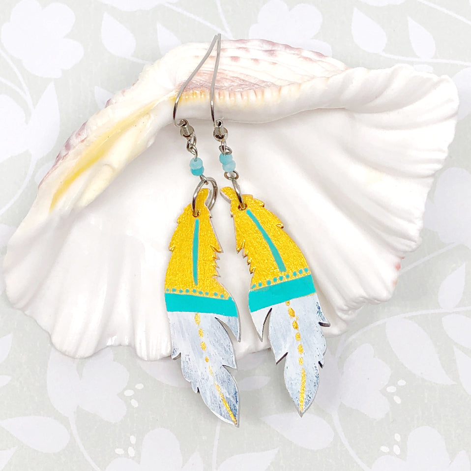 Gold, Turquoise and White - Hand Painted Wood Feather Earrings