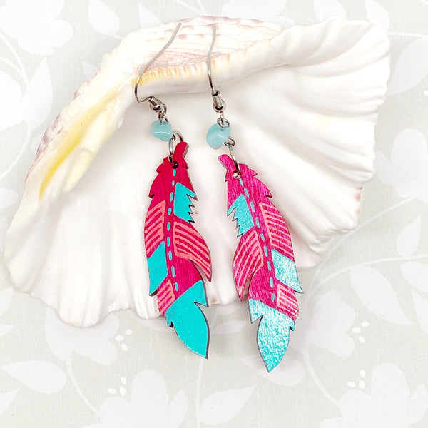 Magenta and Turquoise - Hand Painted Wood Feather Earrings