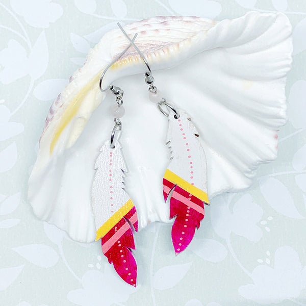 White, Yellow, Coral and Magenta - Hand Painted Wood Feather Earrings