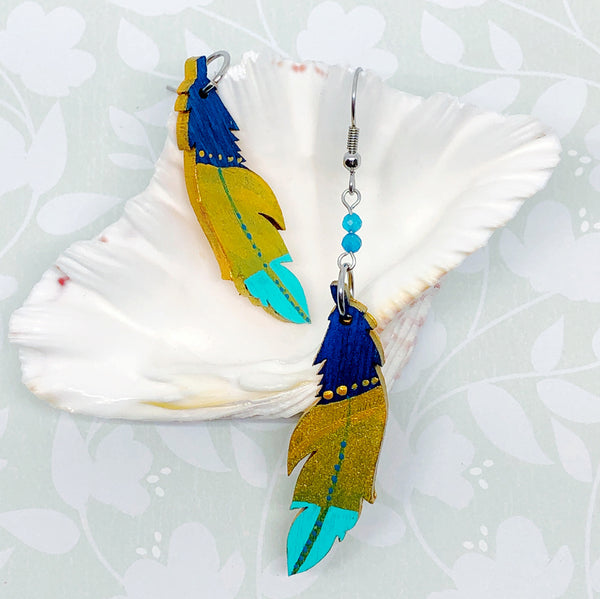 Gold, Blue and Turquoise III - Hand Painted Wood Feather Earrings