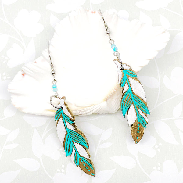 Gold, Turquoise and White II - Hand Painted Wood Feather Earrings