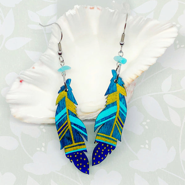 Gold, Blue and Turquoise IV - Hand Painted Wood Feather Earrings