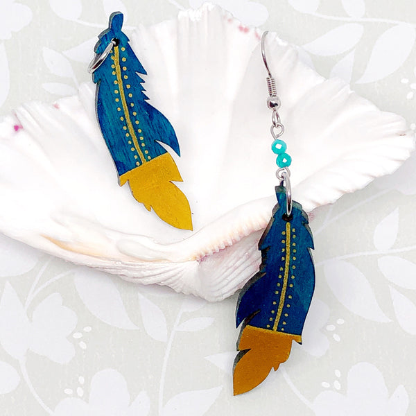 Gold and Blue - Hand Painted Wood Feather Earrings