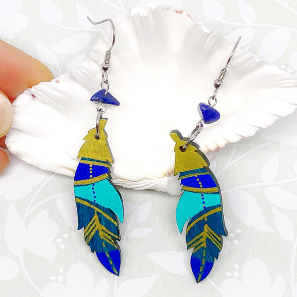 Gold, Turquoise and Blue V - Hand Painted Wood Feather Earrings