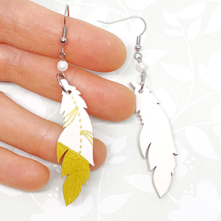Gold and White - Hand Painted Wood Feather Earrings
