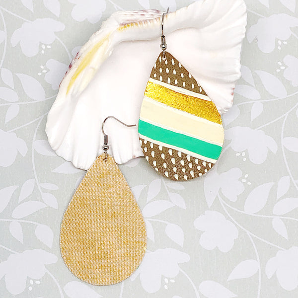 Hand Painted Earrings - Tropical Gold