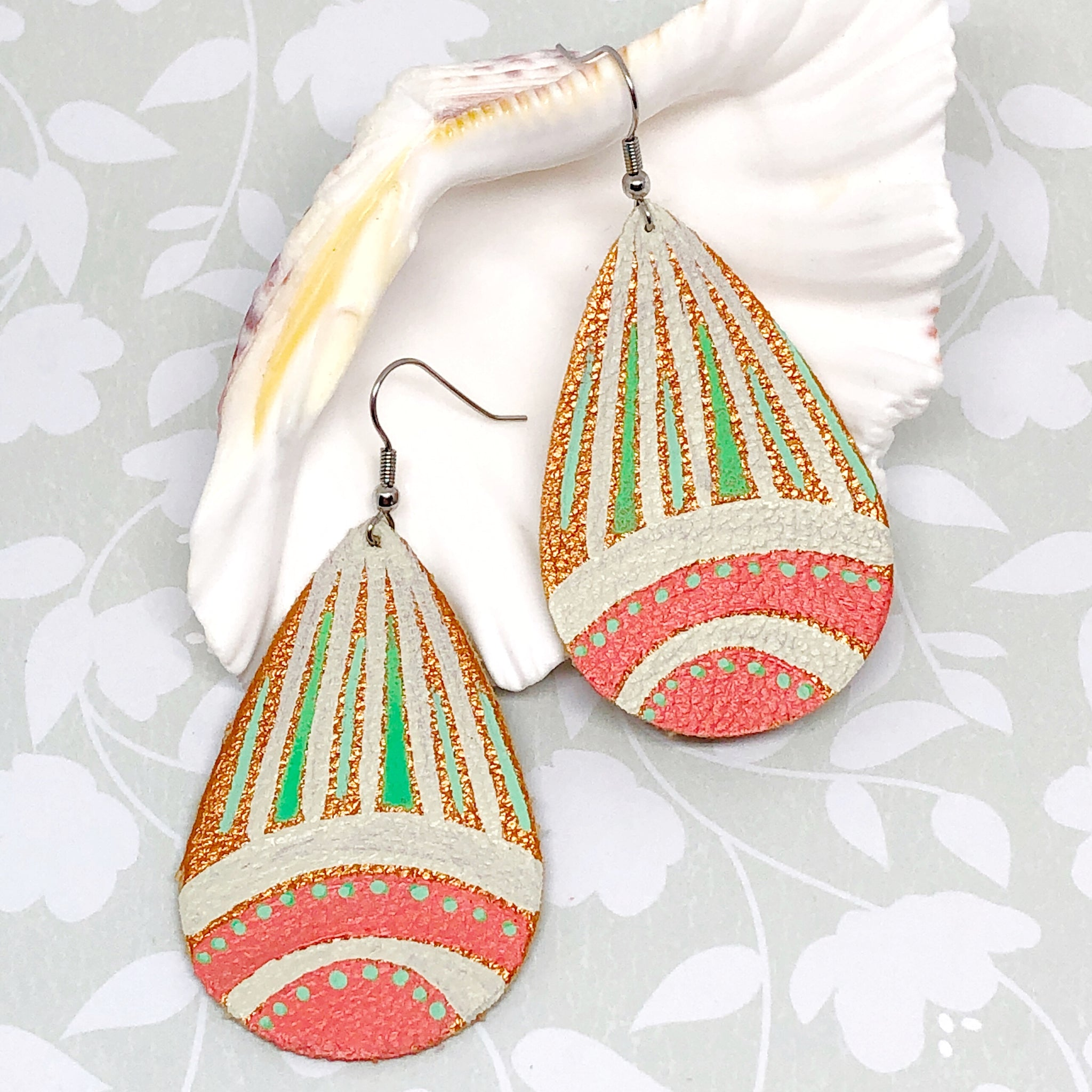 Hand Painted Earrings - Tropical Green, Coral and Cream