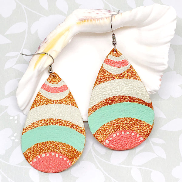 Hand Painted Earrings - Mint, Coral, Cream V