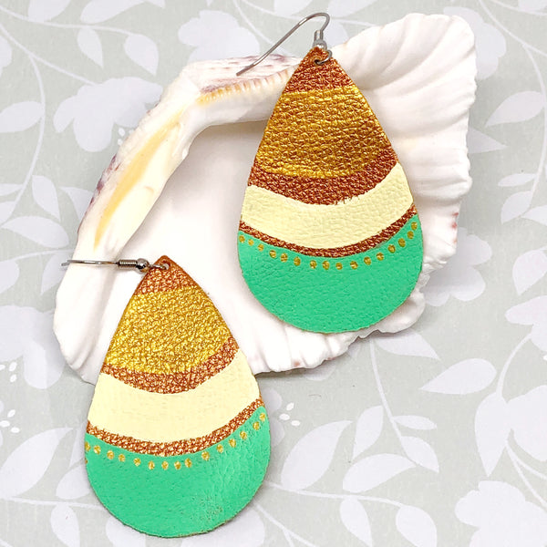 Hand Painted Earrings - Tropical Gold II