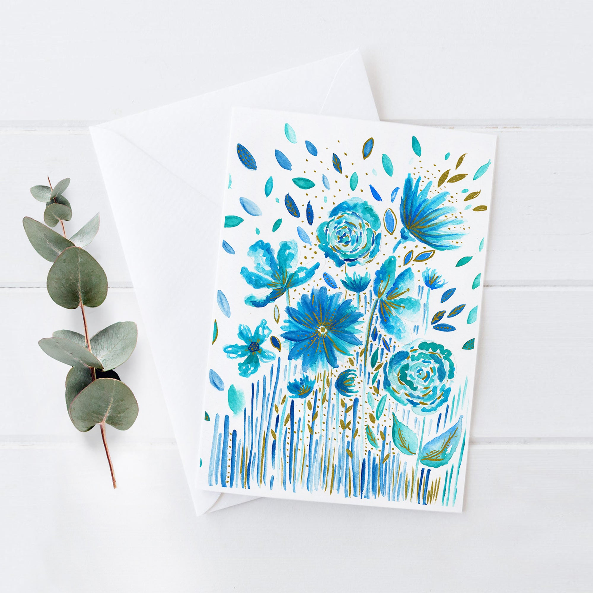 Floral Blues - 5x7 Notecard