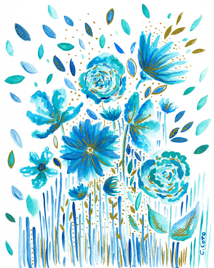 Floral Blues Notecard