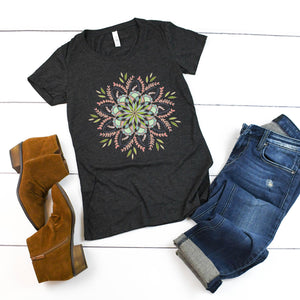 Floral Mandala II **FORM FITTING** Bella + Canvas Ladies' Short Sleeve T-Shirt