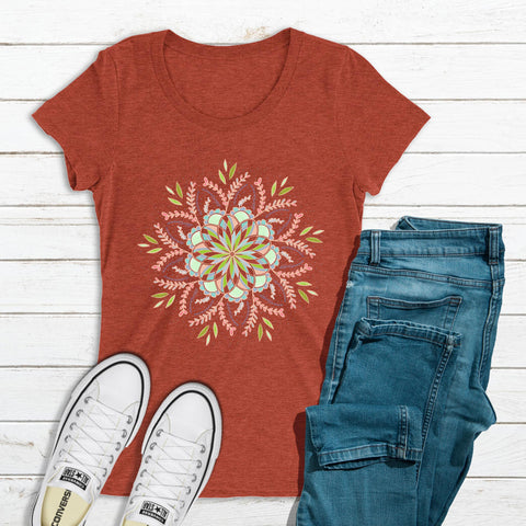 Floral Mandala II - Bella + Canvas Ladies' -FITTED- Short Sleeve T-Shirt