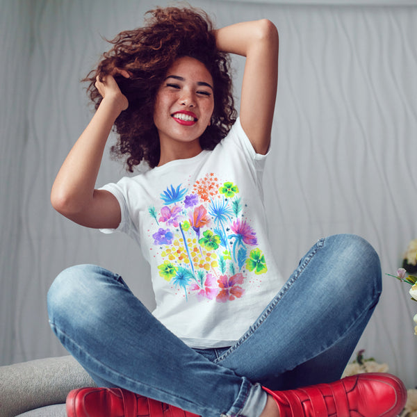 Floral XVI - Bella+Canvas -SLIM FIT- Long Body T-Shirt