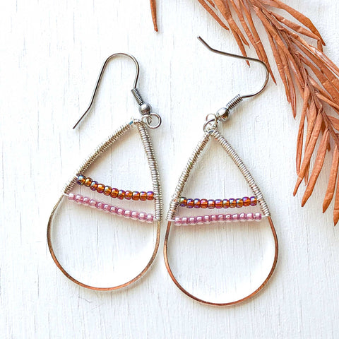 Foggy Morning - Wire and Beads Earrings