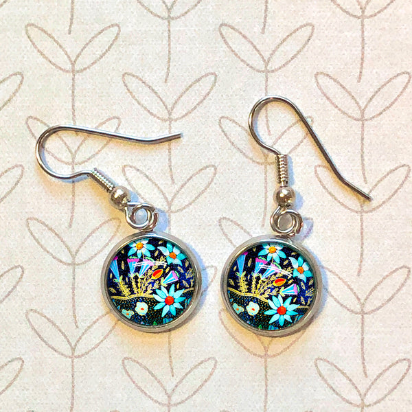 Folk Floral - Dangle, Stud or Leverback Earrings