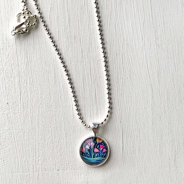 Folk Floral III - Small Round Necklace