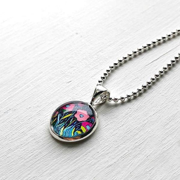 Folk Floral IV - Small Round Necklace