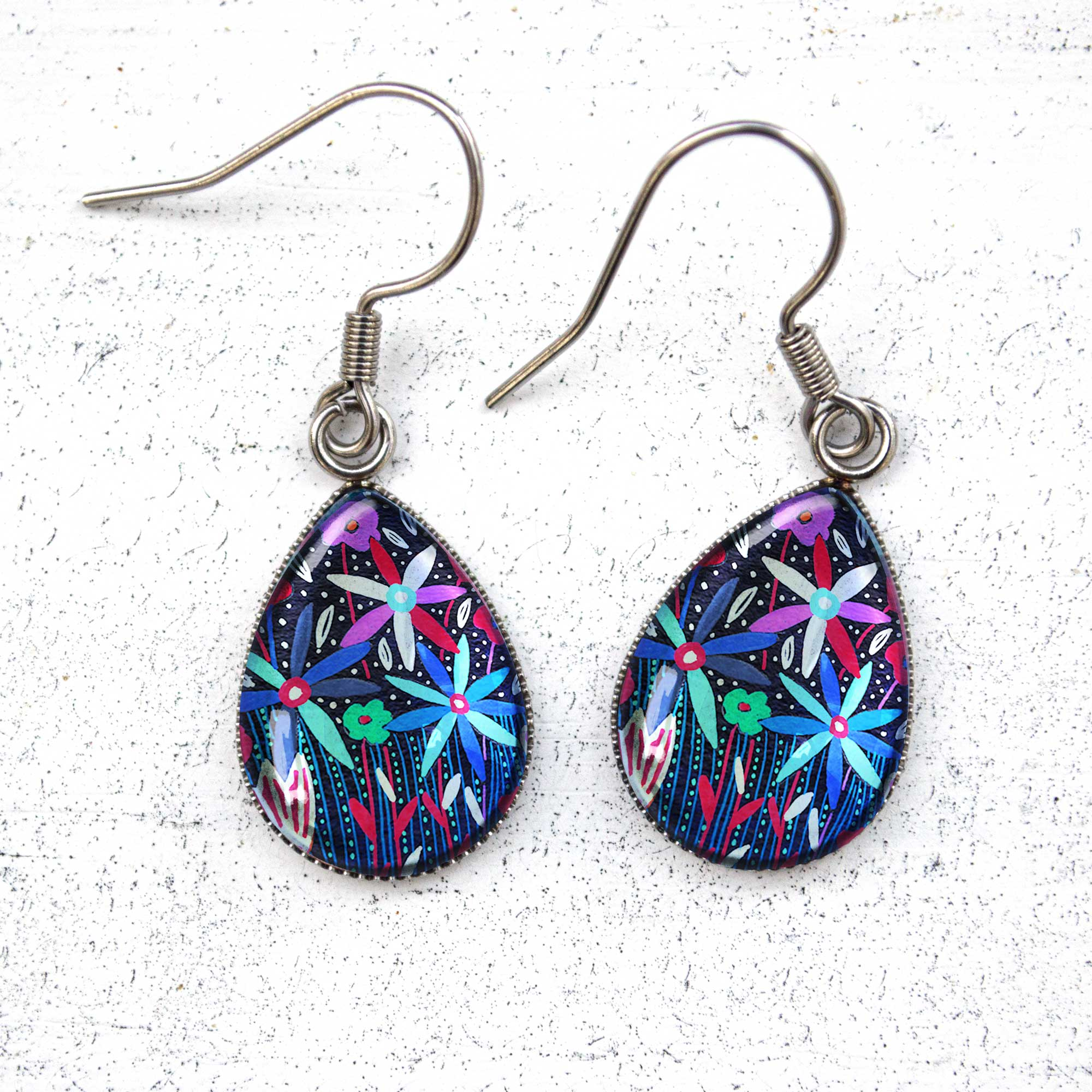 Folk Floral V - Stainless Steel Earrings