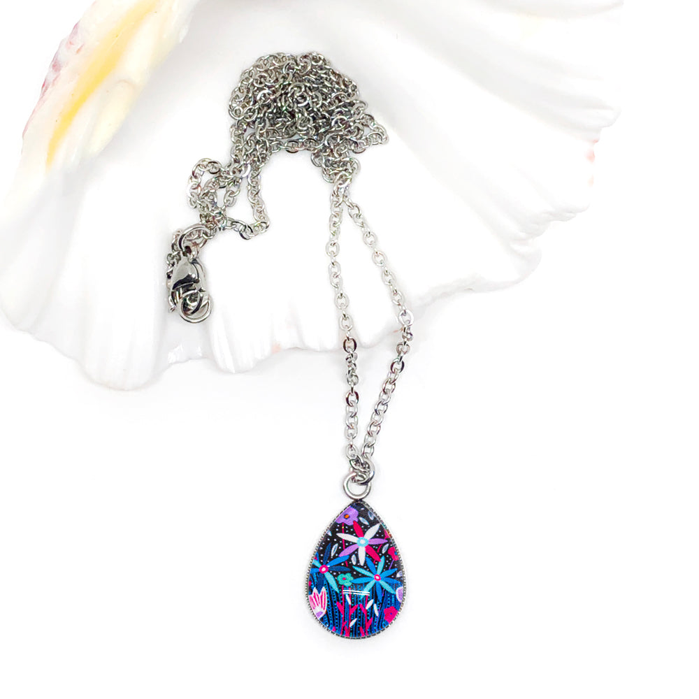 Folk Floral V - Stainless Steel Teardrop Necklace or Set