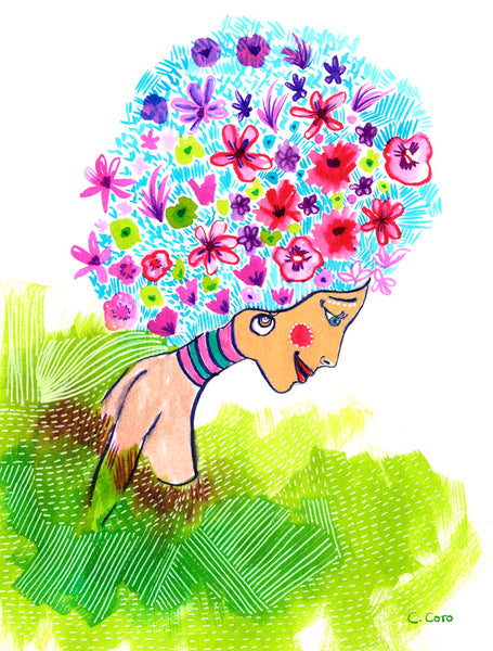 Garden Hair Notecard