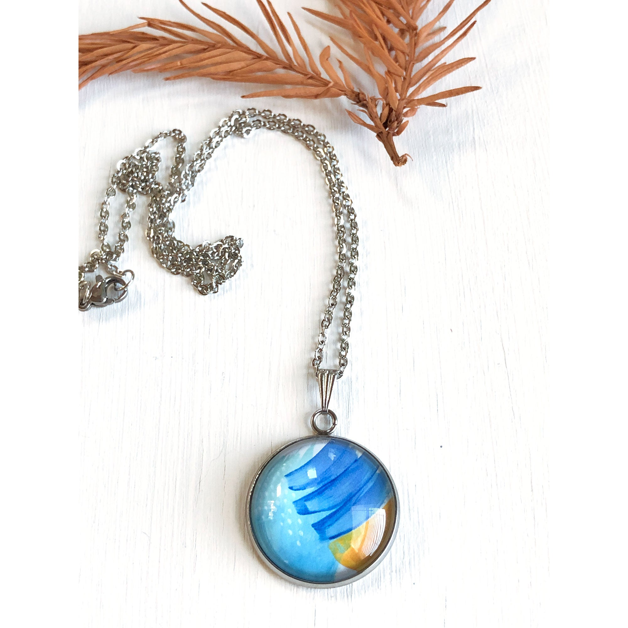 Blue and Gold Abstract - Stainless Steel Necklace
