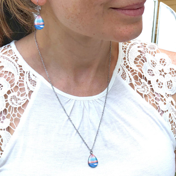 Graphic Seascape I - Stainless Steel Teardrop Necklace or Set