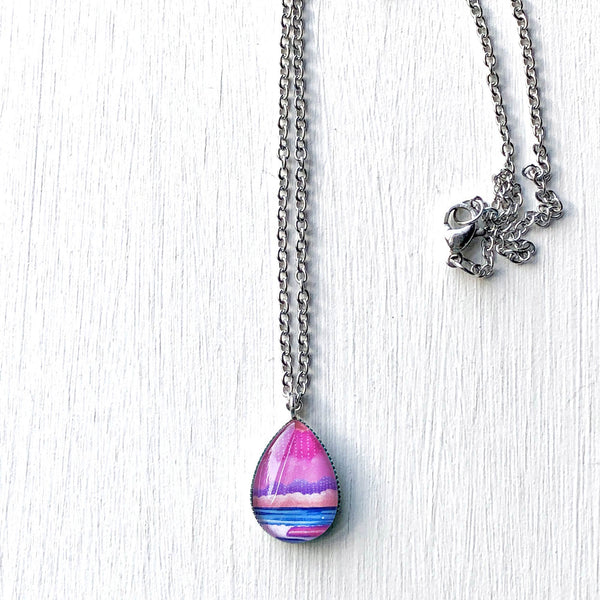 Graphic Seascape III - Stainless Steel Teardrop Necklace or Set