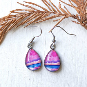 Graphic Seascape II - Stainless Steel Earrings