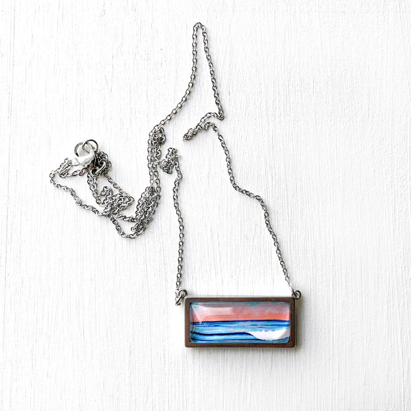 Graphic Seascape I - Bar Necklace