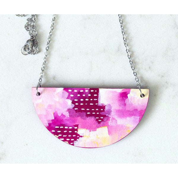 Hand Painted Half Moon Necklace - Half Moon Abstract 1