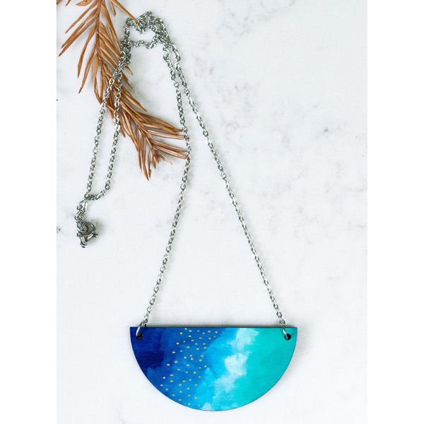 Hand Painted Half Moon Necklace - Half Moon Abstract 2