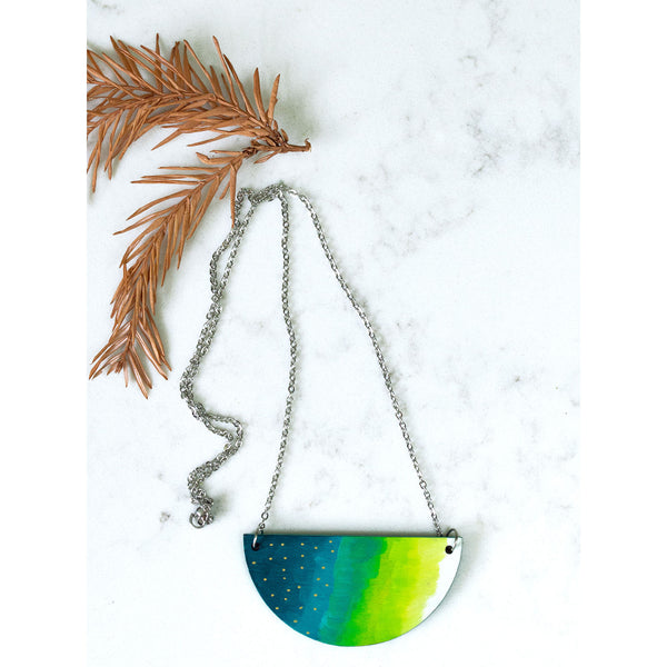 Hand Painted Half Moon Necklace - Green Ombre