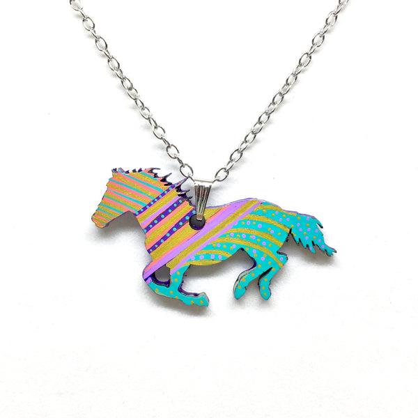 Hand Painted Pendant - Colorful Horse I