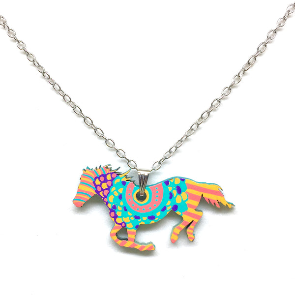 Hand Painted Pendant - Colorful Horse III