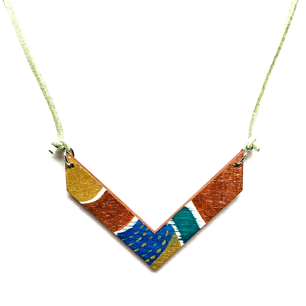 Sun, Sand and Ocean, V Shape, Hand-Painted Necklace