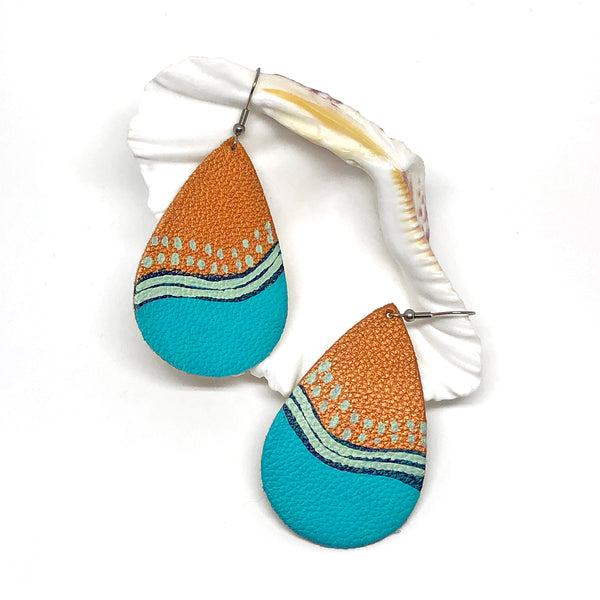 Hand Painted Earrings - Teal Wave