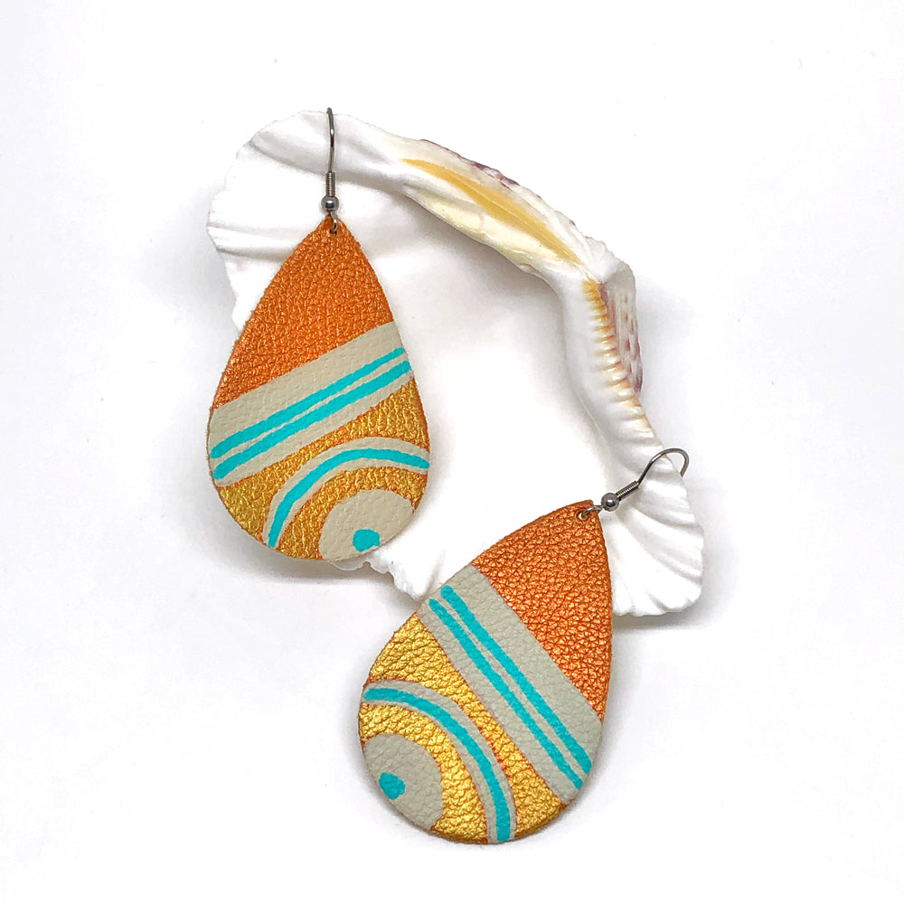 Hand Painted Earrings - Gold, Bronze and Teal