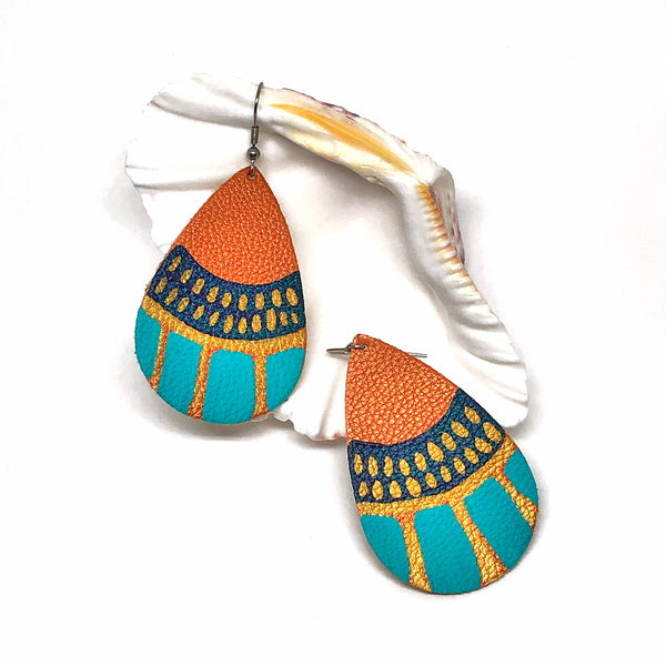Hand Painted Earrings - Turquoise, Blue and Gold