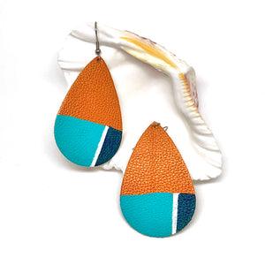 Hand Painted Earrings - Geometric Teal and Blue
