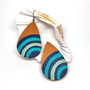 Hand Painted Earrings - Blue Beehive