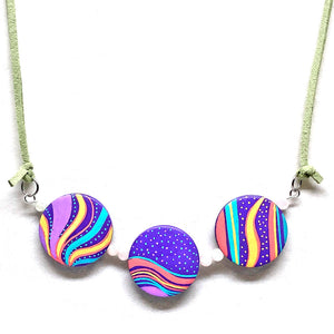Abstract Oceans Hand-Painted Necklace