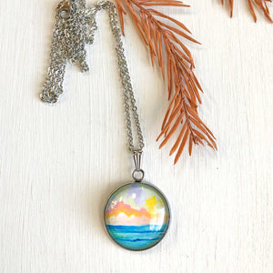 Abstract Seascape I - Stainless Steel Necklace