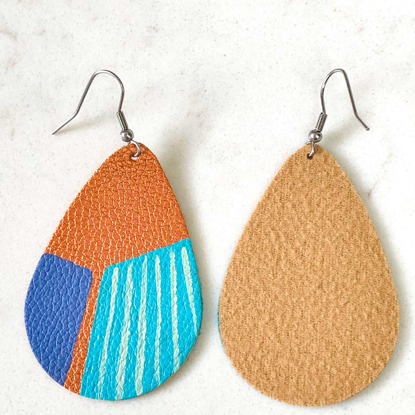 Hand Painted Earrings - Ocean Blues