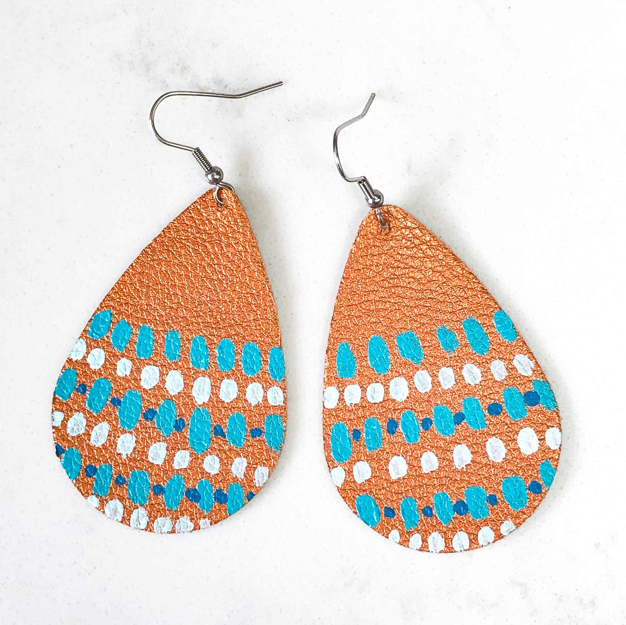 Hand Painted Earrings - Blue Rain